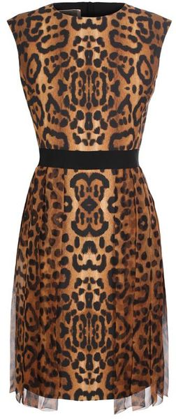 Giambattista Valli Leopard Print Dress in Brown (leopard)