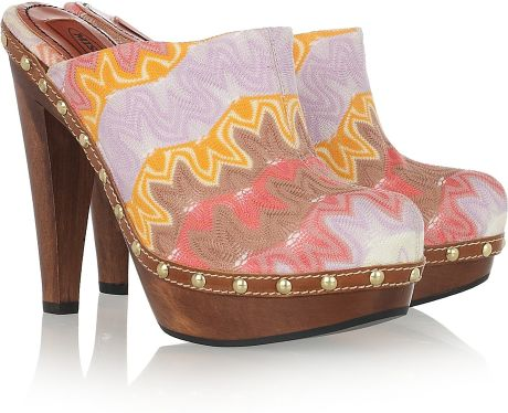Missoni Crochet-knit Wooden Mules in Multicolor