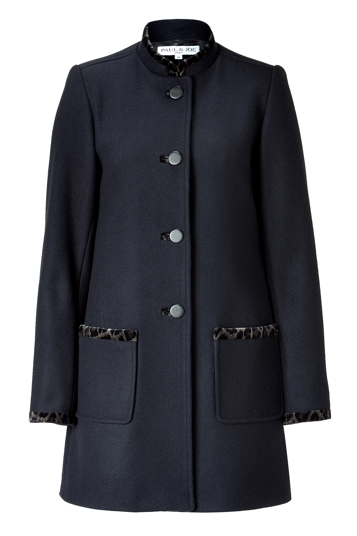 Paul Amp Joe Marine Coat With Stand Up Collar In Blue