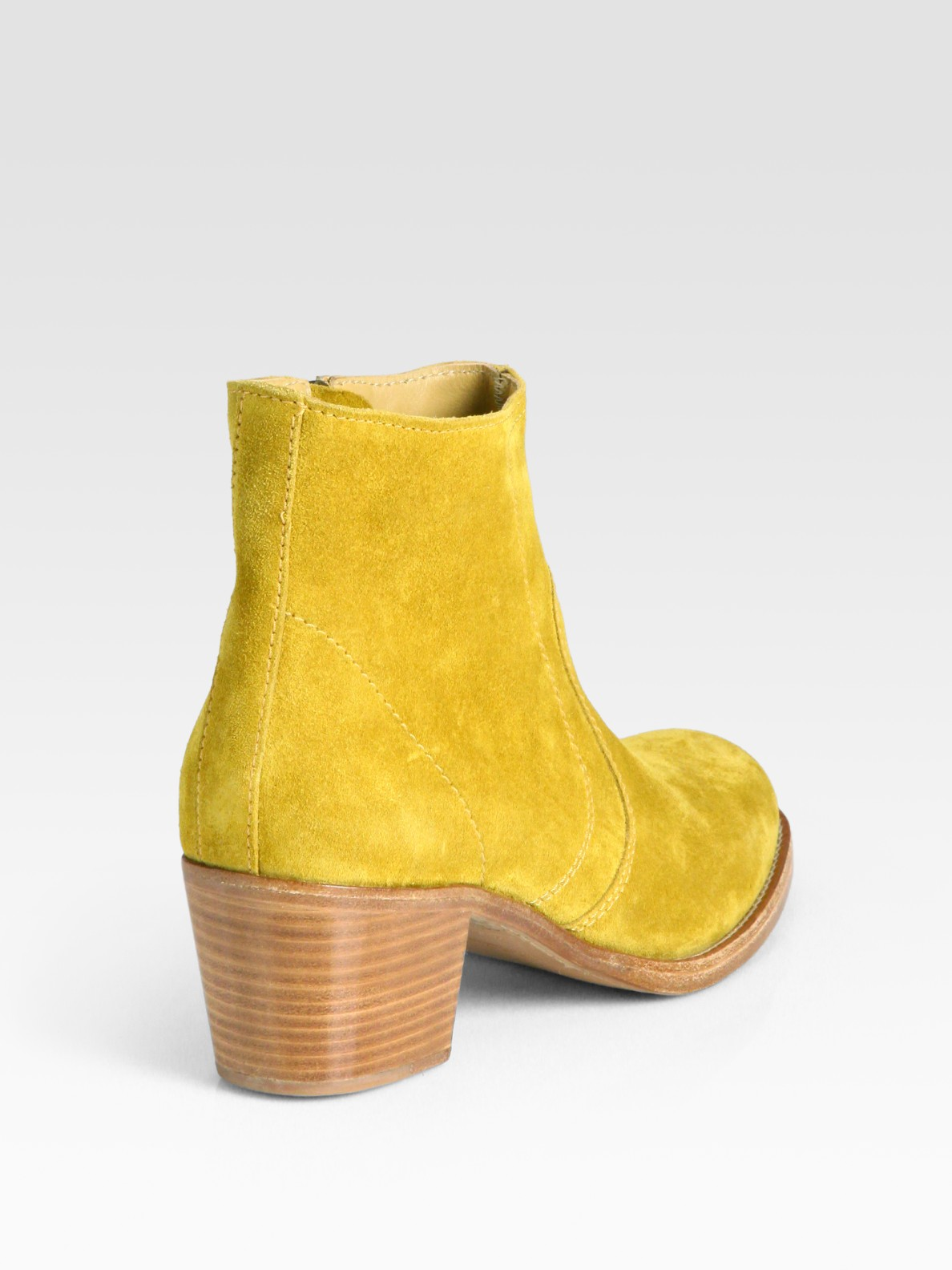 A P C Classic Suede Ankle Boots In Yellow Lyst
