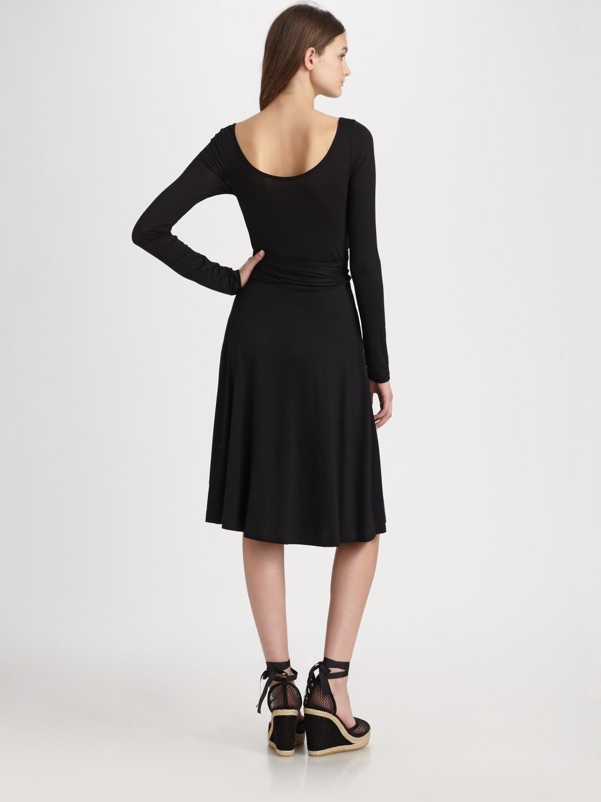 Dkny Jersey Wrap Dress In Black Lyst