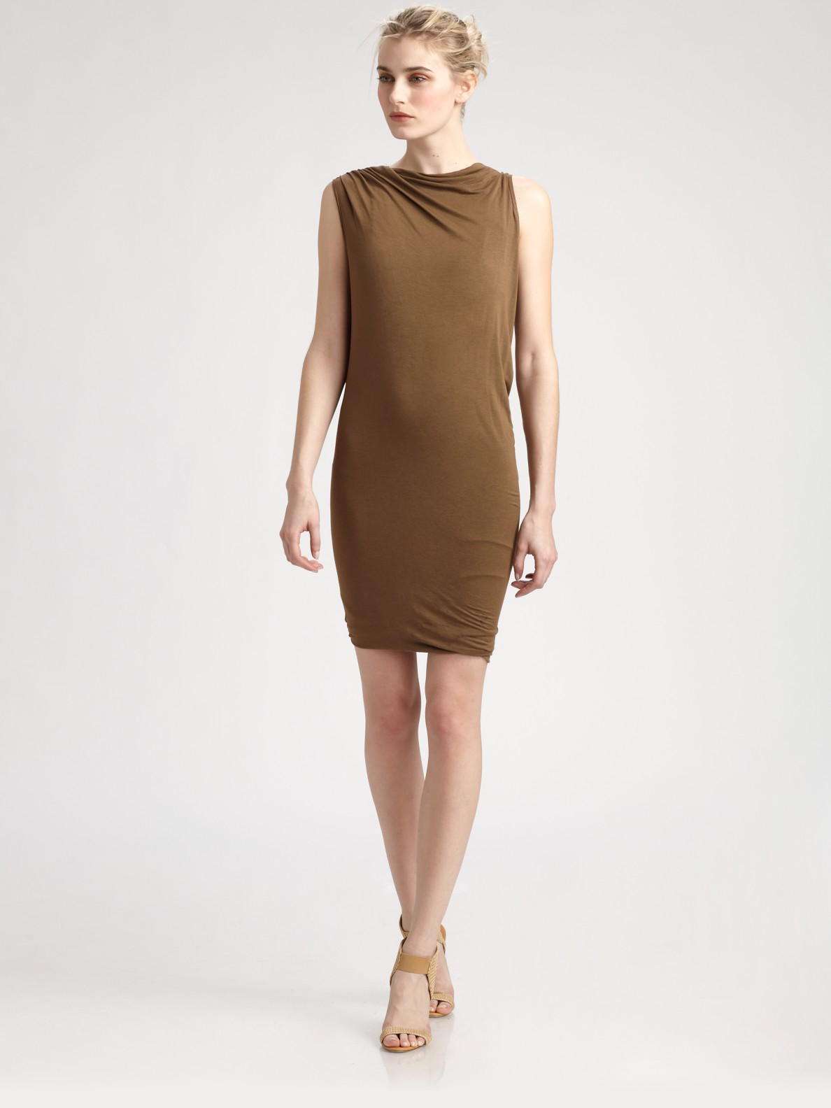 Donna karan new york asymmetrical dress in brown beige for Donna karen new york