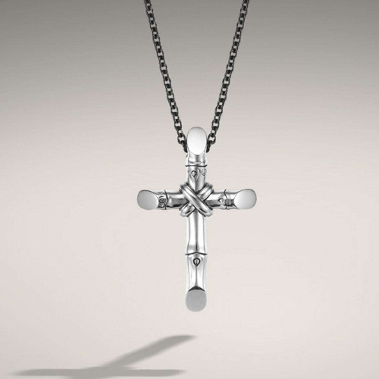 John Hardy Cross Pendant On Black Stainless Steel Necklace
