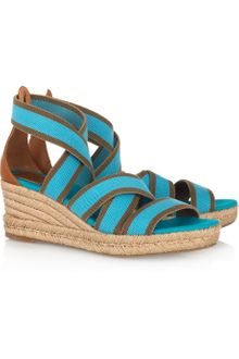 Tory Burch Stretch-canvas Espadrille Wedge Sandals - Lyst