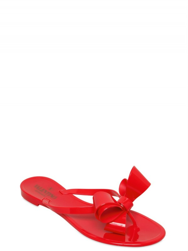 Valentino Rubber Bow Flip Flop Flats In Red  Lyst-7993