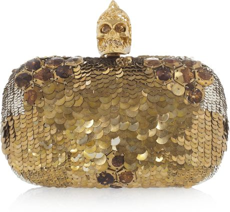 Alexander Mcqueen Sequin Skull Box Clutch in Gold