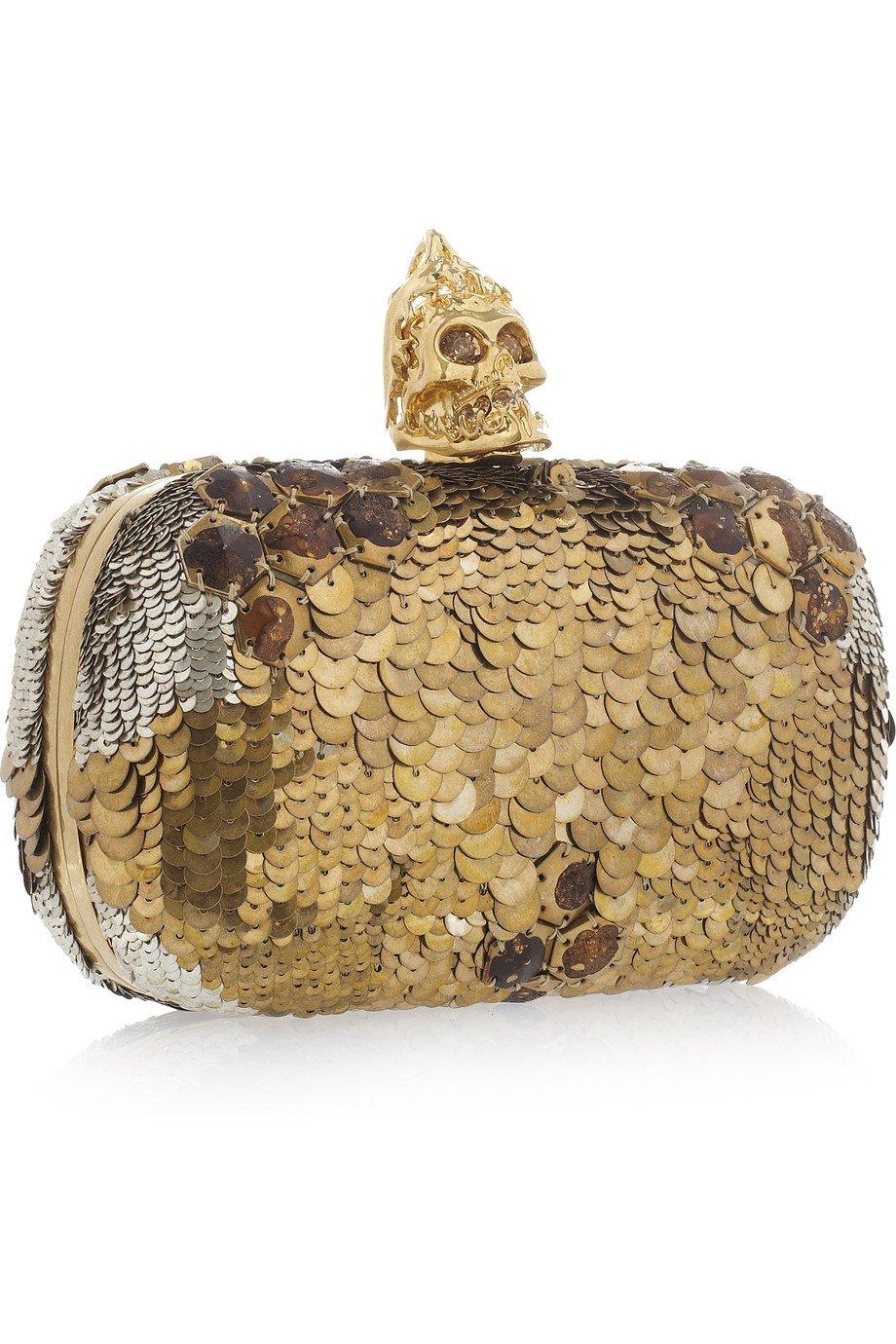 Alexander mcqueen sequin skull box clutch in metallic lyst for Tj maxx jewelry box