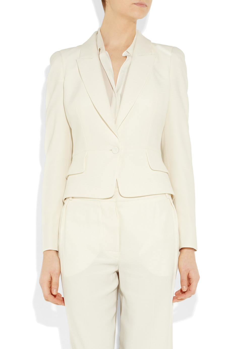 Lyst Alexander Mcqueen Extended Back Crepe Jacket In White