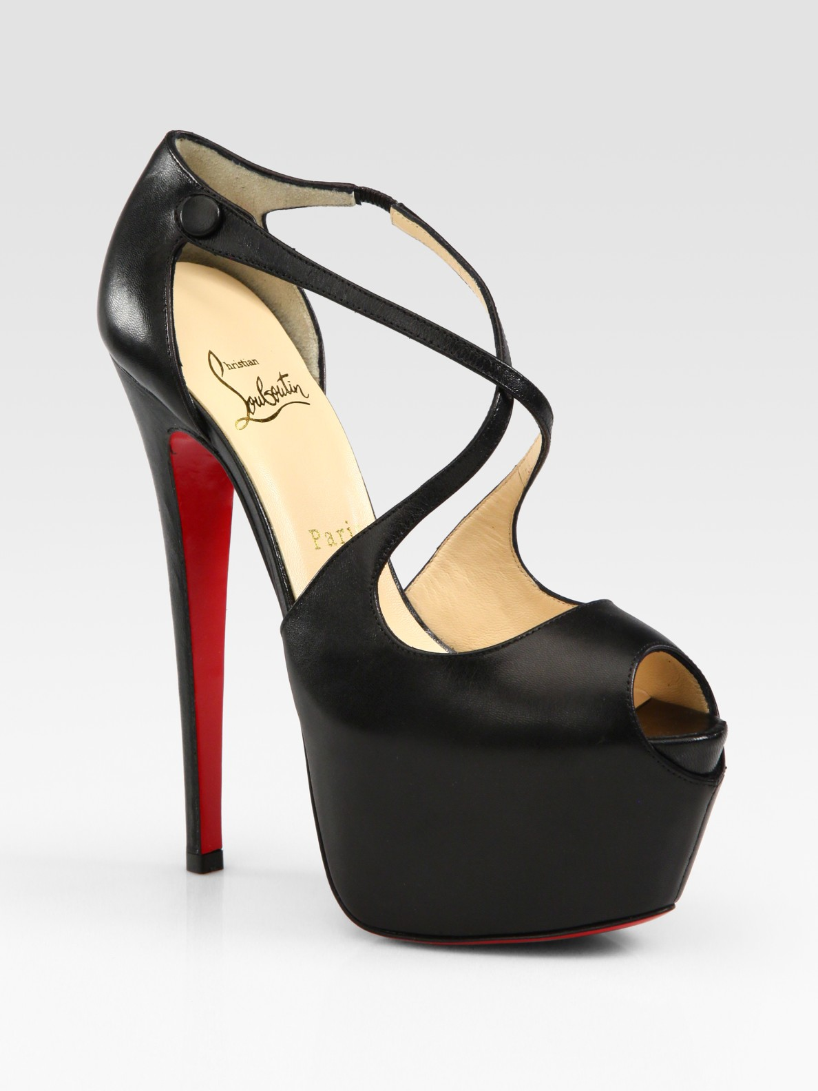 Lyst Christian Louboutin Exagona Leather Criss Cross