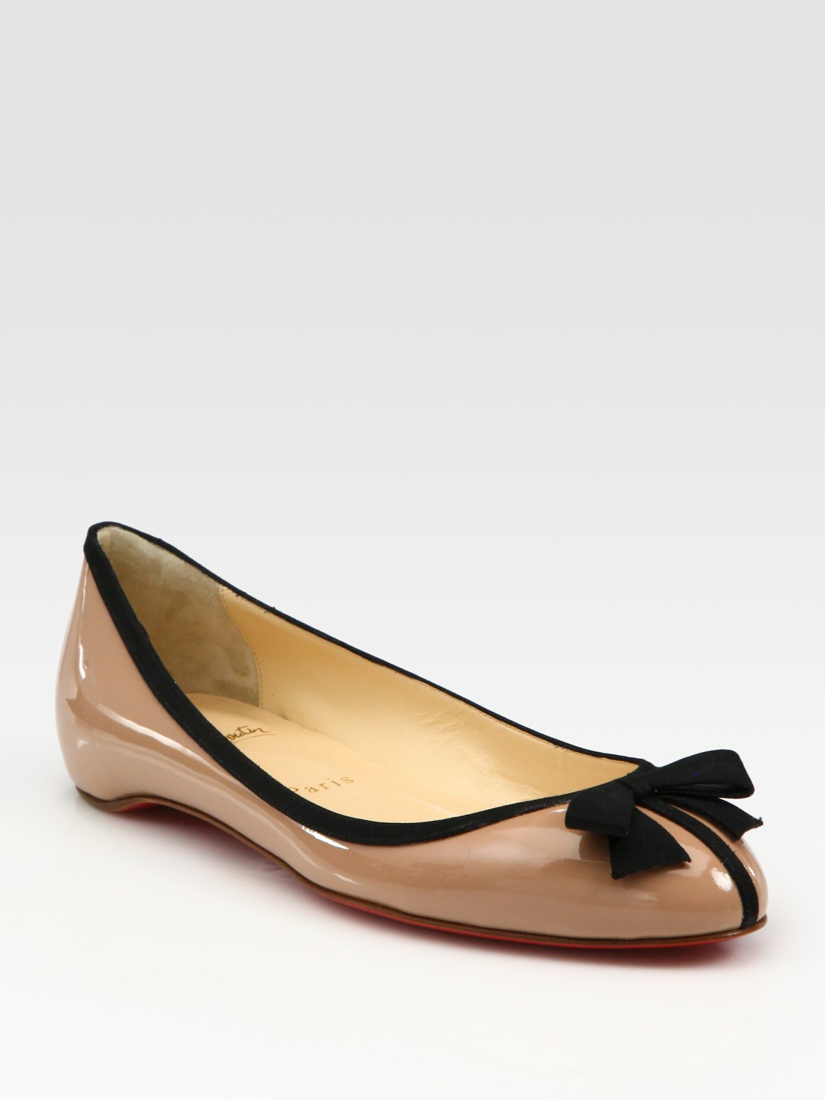 36d966dfb5f Lyst - Christian Louboutin Patent Leather Bow Ballet Flats in Natural