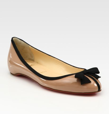 Christian Louboutin Patent Leather Bow Ballet Flats in Beige (nude)