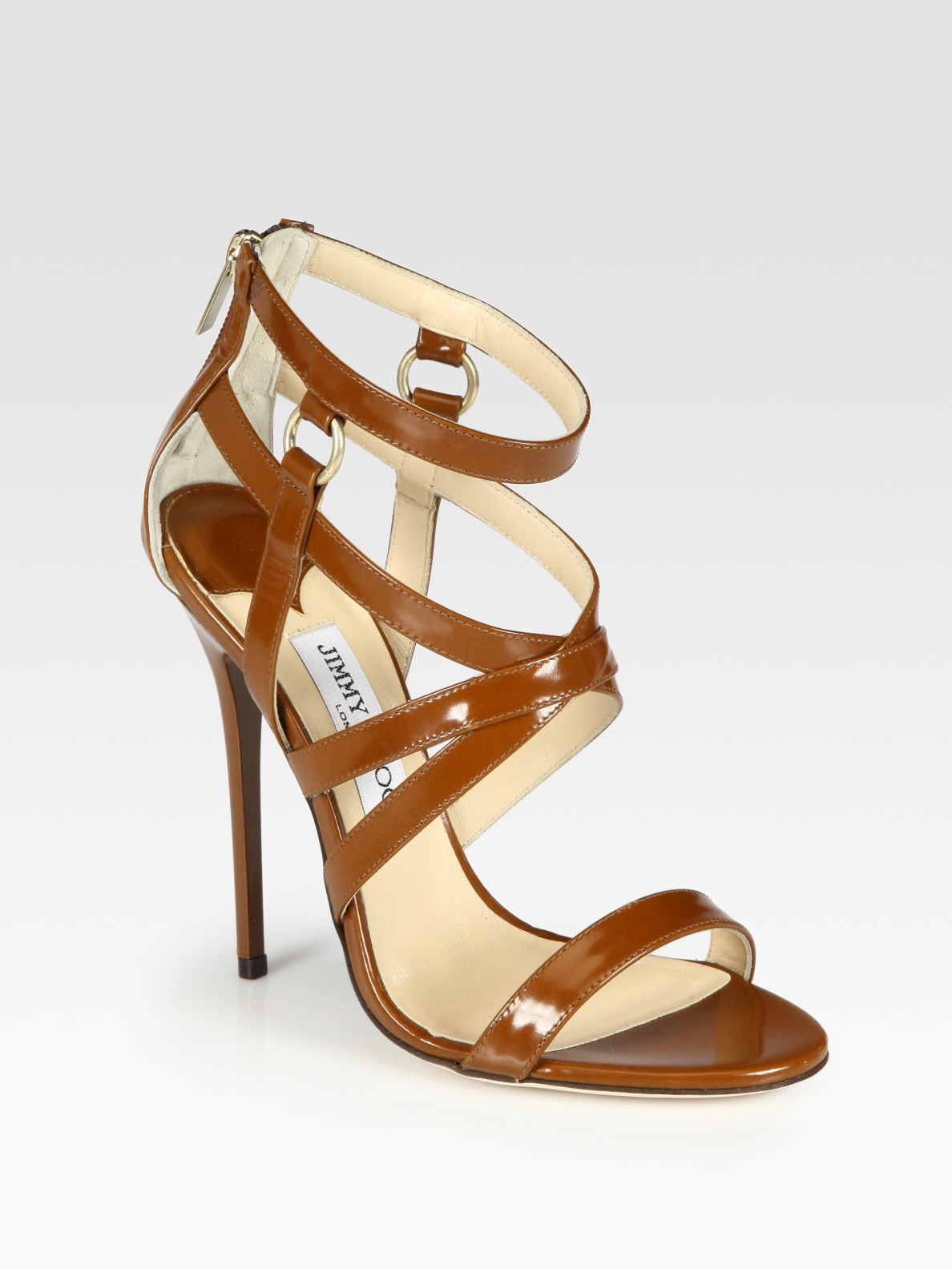 Jimmy Choo Gael Strappy Leather Sandals In Brown Lyst