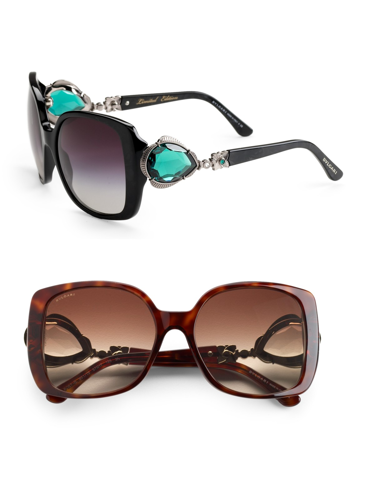 Lyst Bvlgari Oversized Stone Embellished Sunglasses In Black