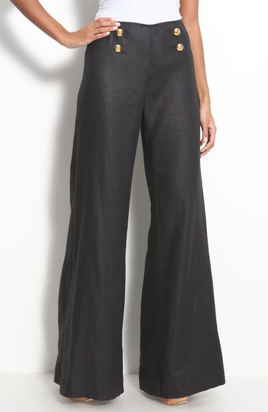 Lafayette 148 New York Lavish Linen Sailor Pants In Black