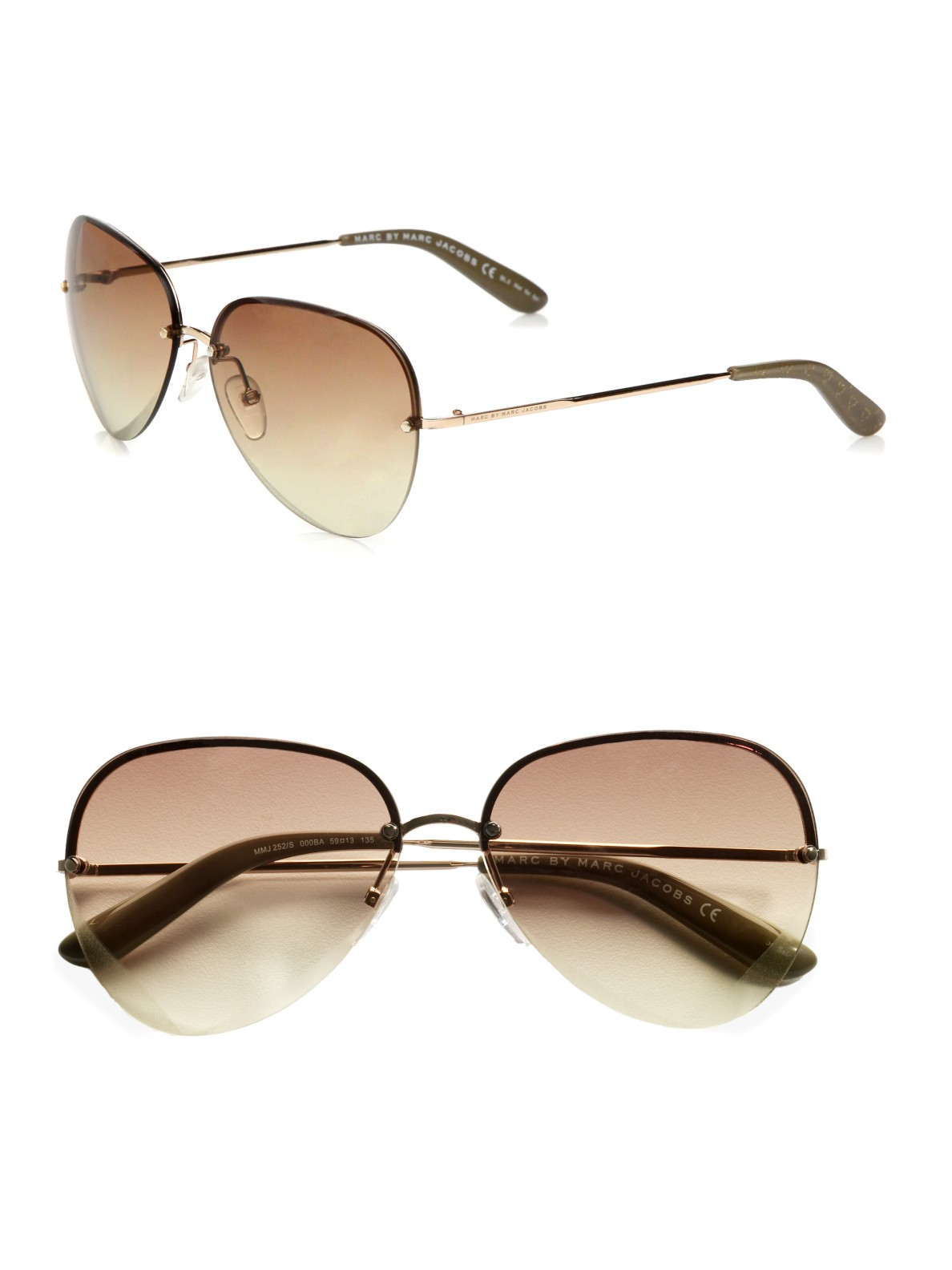 c20f5781da Lyst - Marc By Marc Jacobs Heart Etched Metal Aviator Sunglasses in ...
