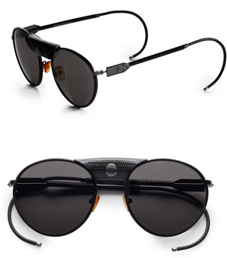 Proenza Schouler Metal Aviator Sunglasses in Black