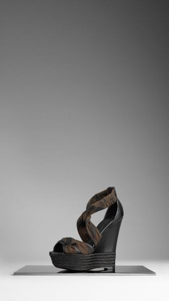 Burberry Check Rope Wedge Sandals in Brown (black)