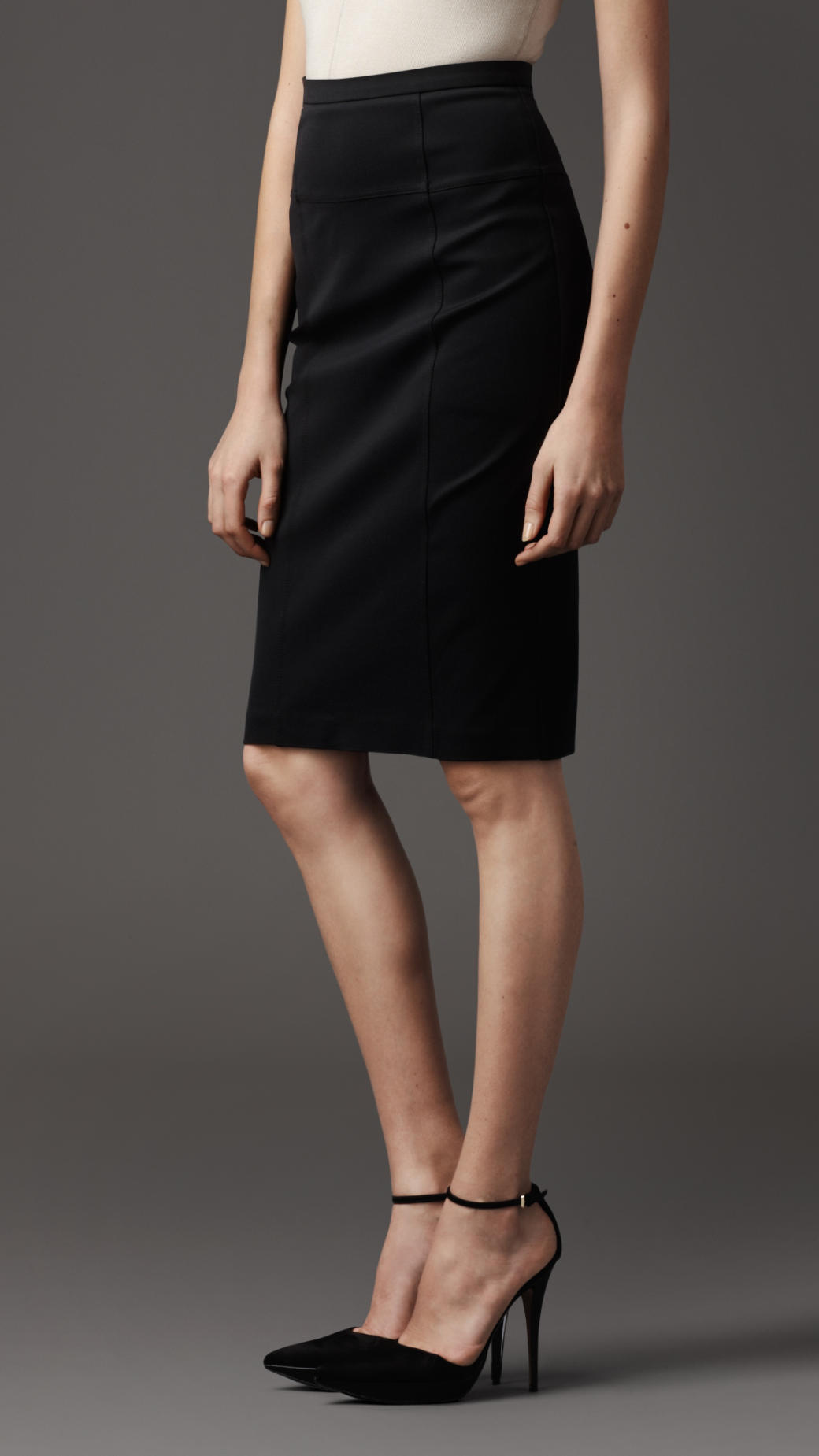 burberry stretch jersey pencil skirt in black lyst