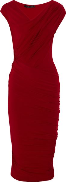 Donna Karan New York Draped Stretch-jersey Dress in Red