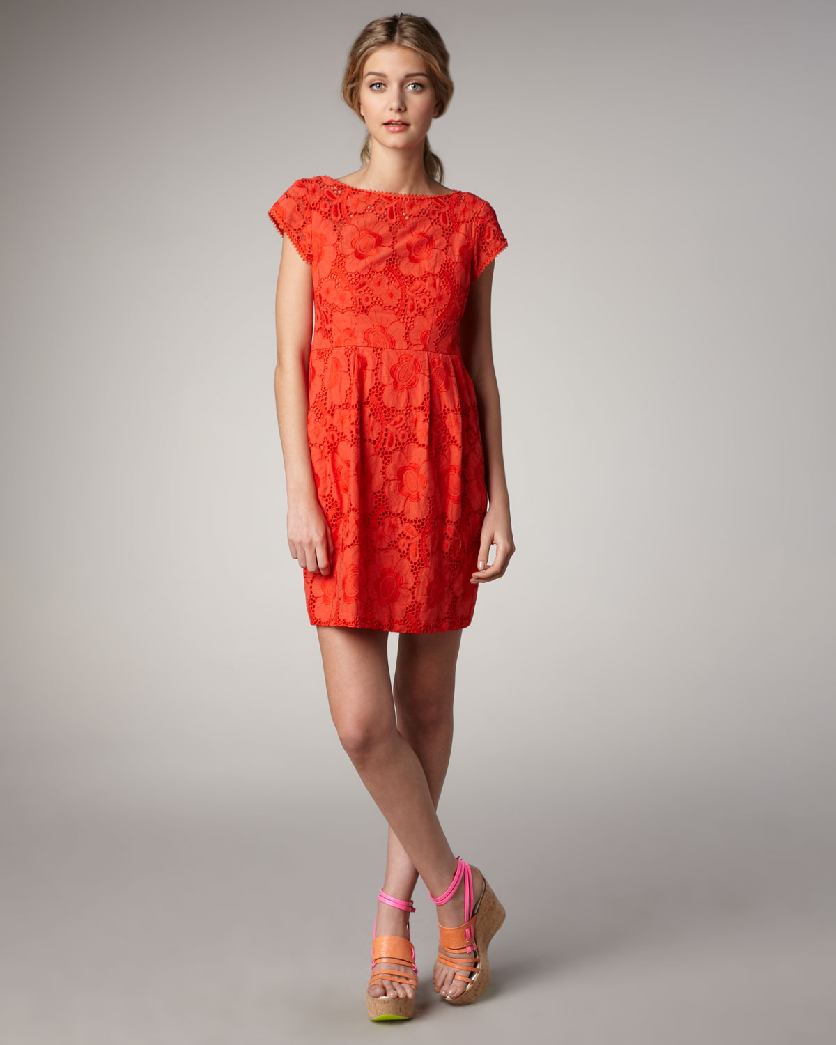 Nanette lepore Vamos Lace Dress in Red | Lyst