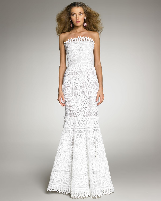 Oscar De La A Battenberg Lace Gown In White Lyst