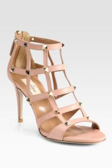 Valentino Studded Leather Cage Sandals - Lyst