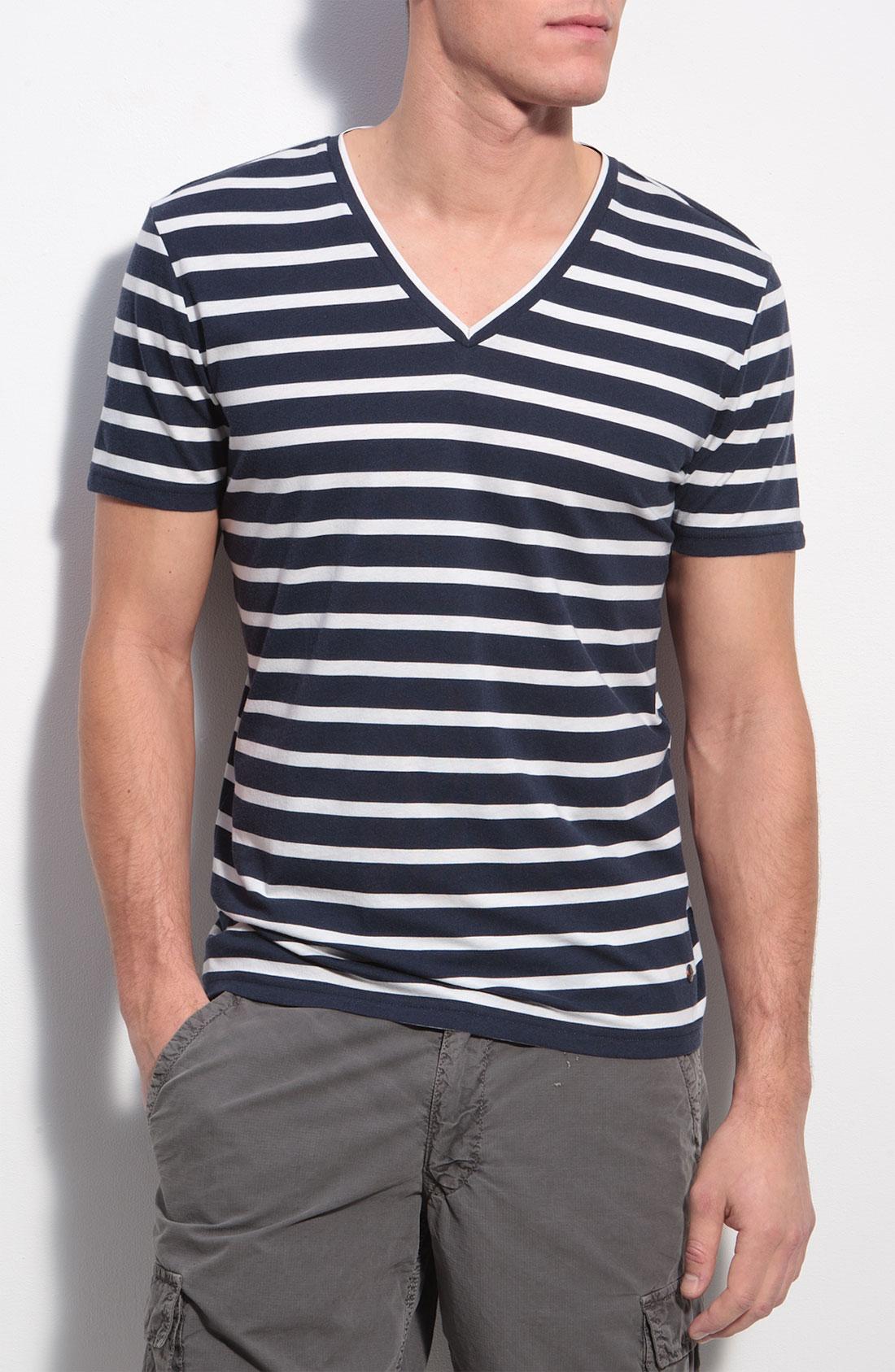 Boss Orange Toast Stripe V Neck T Shirt In Blue For Men