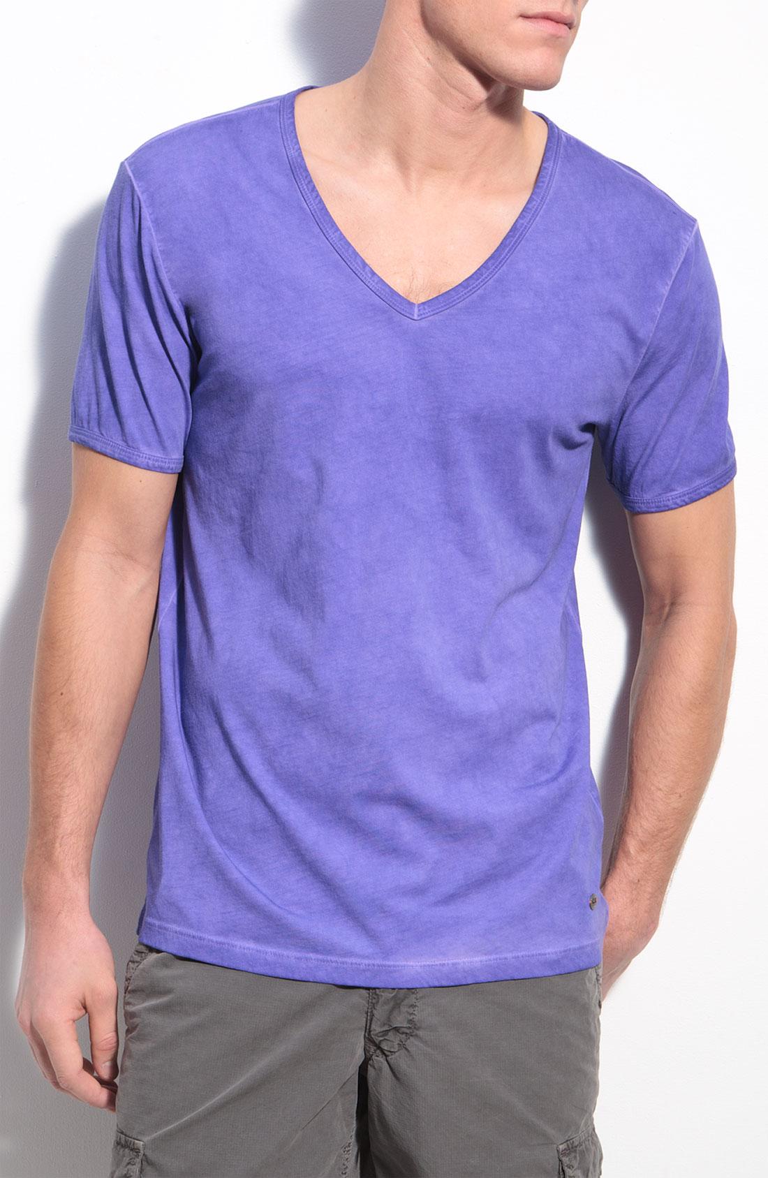 Boss Orange Toulouse V Neck T Shirt In Purple For Men New