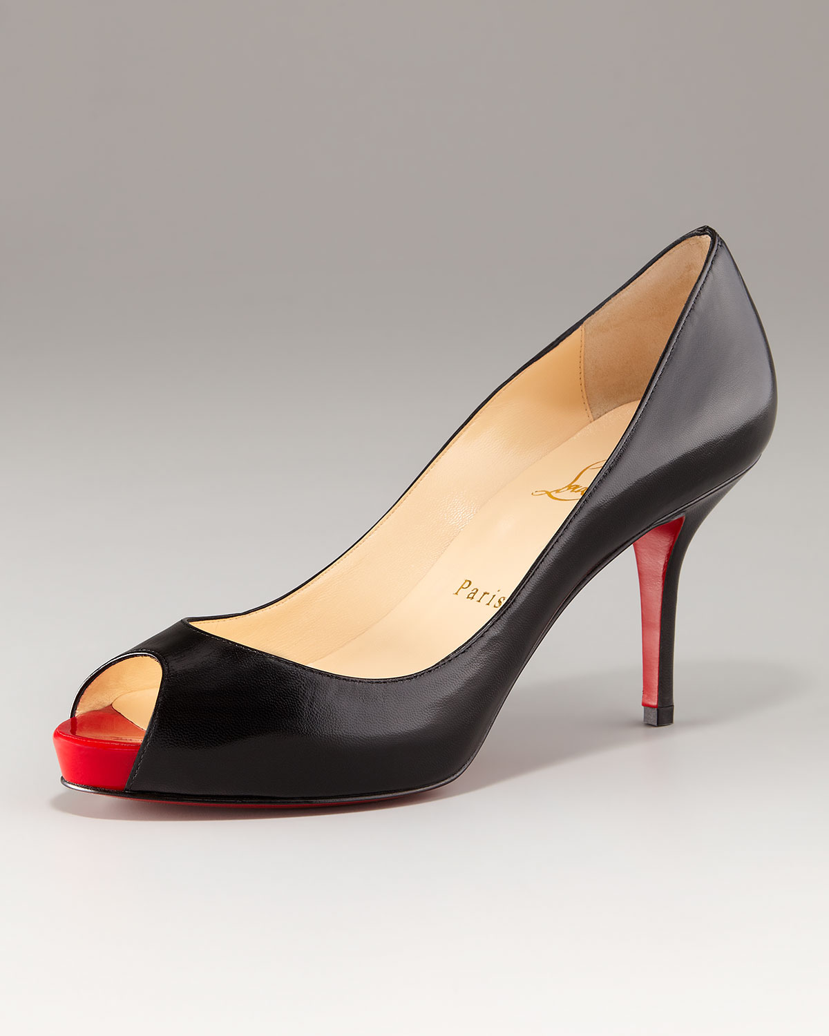 Lyst - Christian louboutin Mater Claude Open-toe Mid-heel Pump in ...