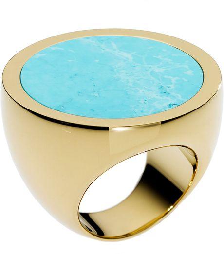 Michael Michael Kors Michael Kors Large Slice Ring in Blue (turquoise/ gold)