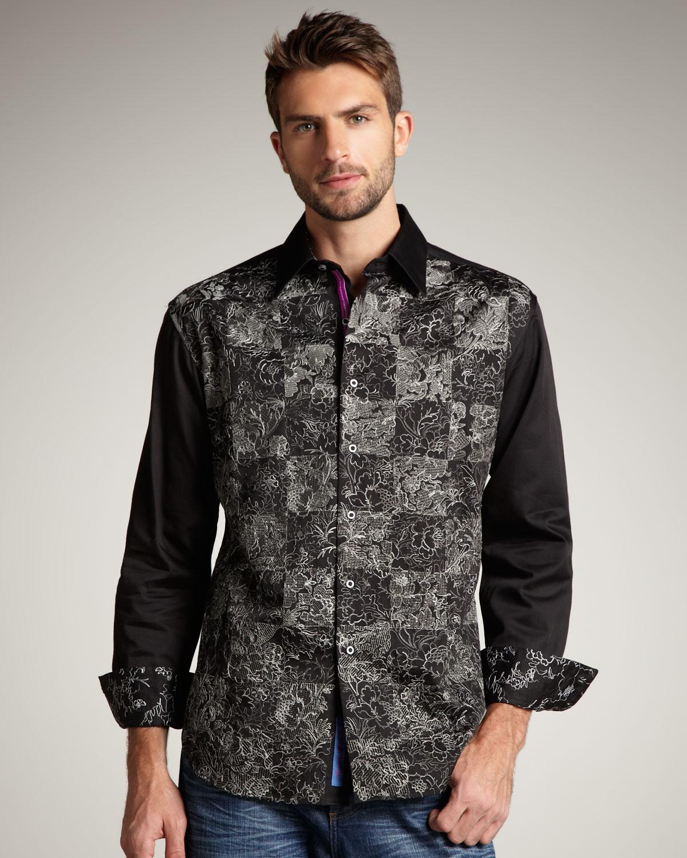 Lyst robert graham ellis embroidered sport shirt in for Robert graham sport shirt
