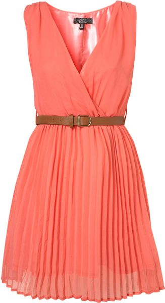 topshop crossover pleated belt dress by in pink