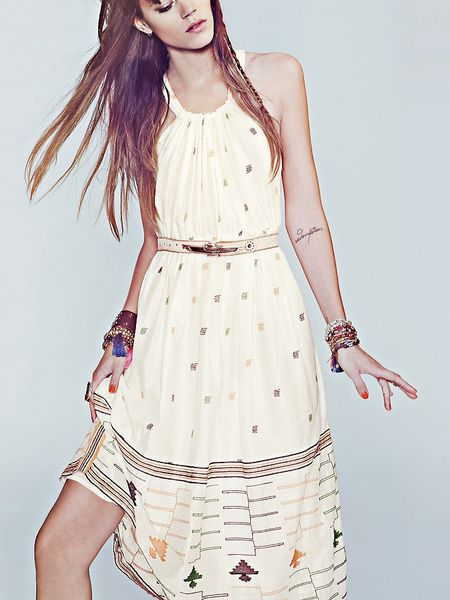 Free People Fp New Romantics Etched Maxi Dress in Beige (ivory)