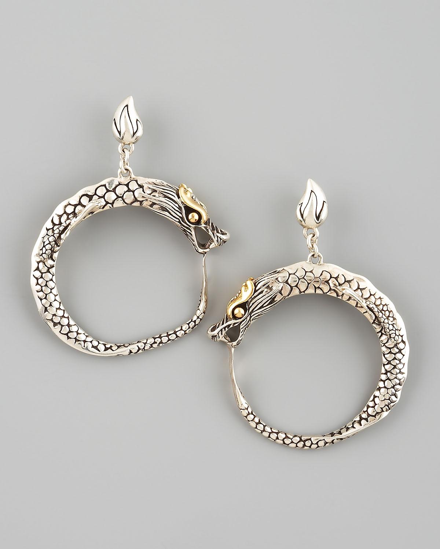 John hardy naga dragon hoop earrings in silver lyst for John hardy jewelry earrings