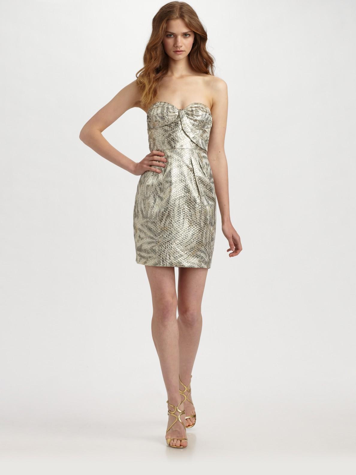 Leifsdottir Metallic Snake Embossed Jacquard Dress In Gold