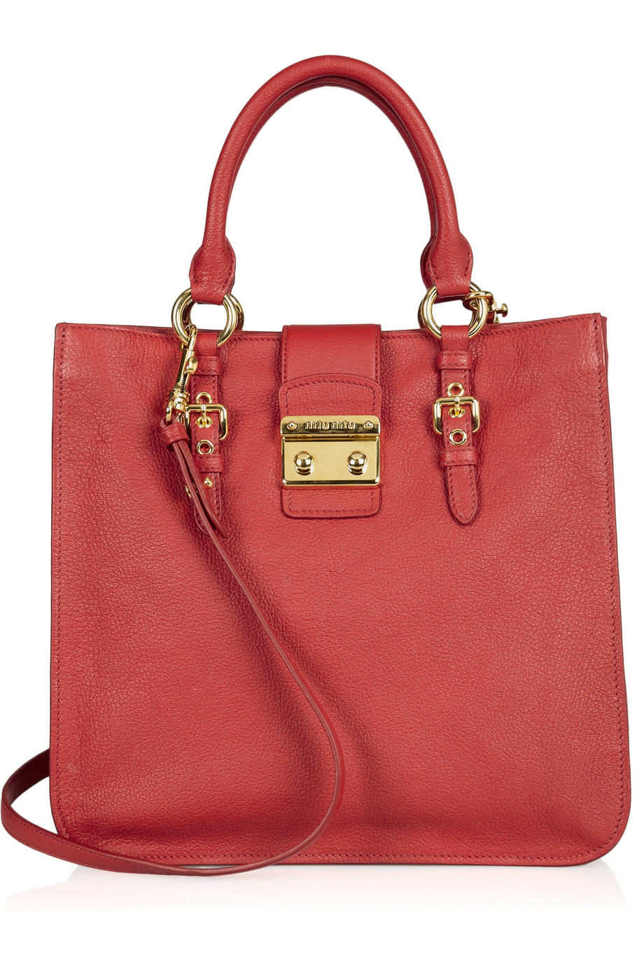 lyst miu miu madras textured leather tote in red. Black Bedroom Furniture Sets. Home Design Ideas