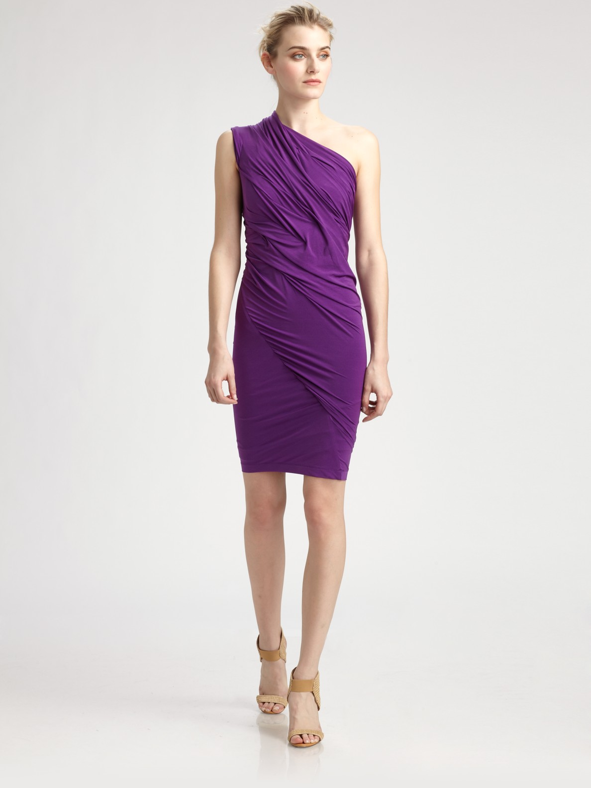 Donna karan new york asymmetrical stretch dress in purple for Donna karan new york