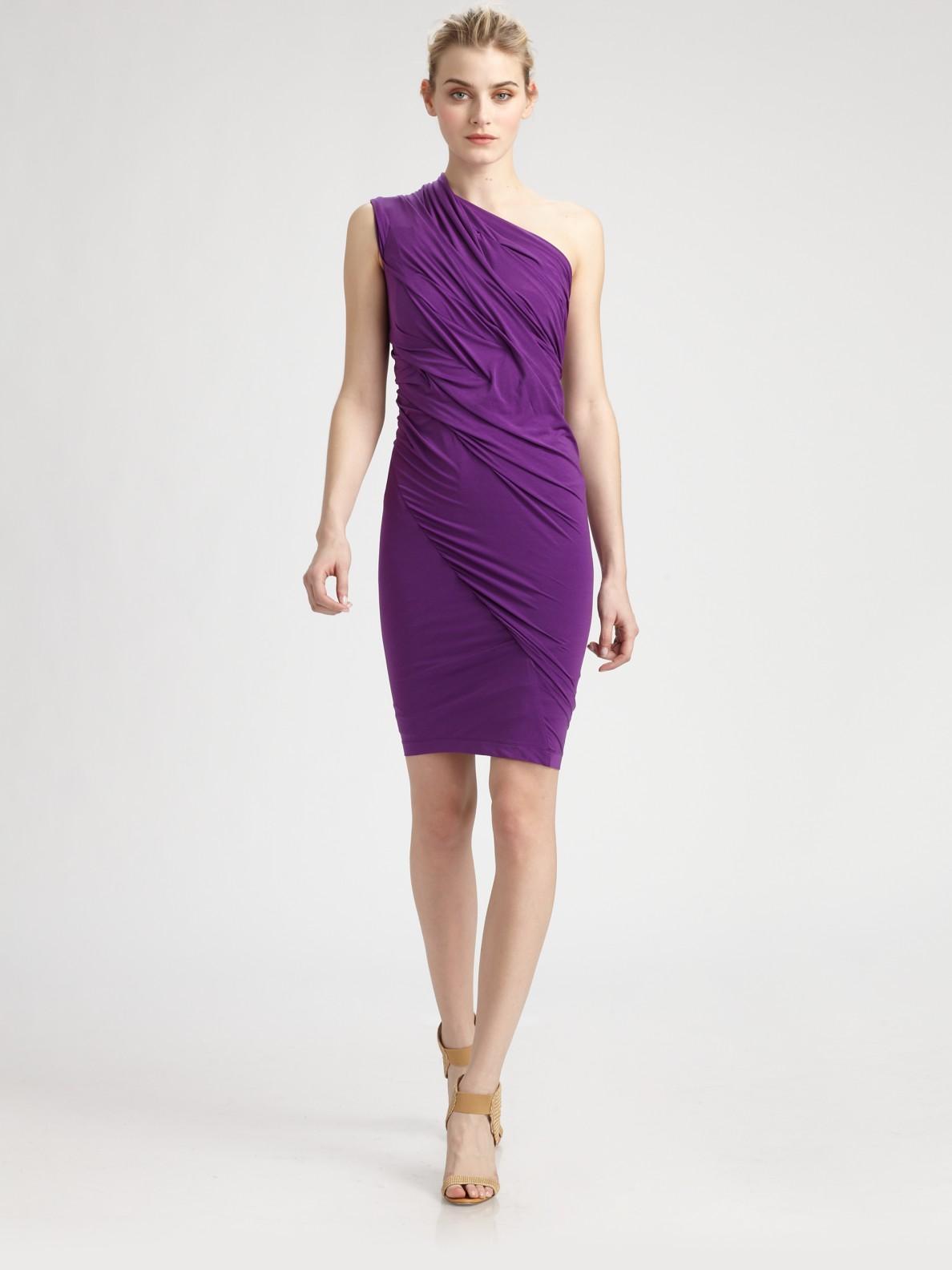 Donna Karan Asymmetrical Stretch Dress In Purple Lyst