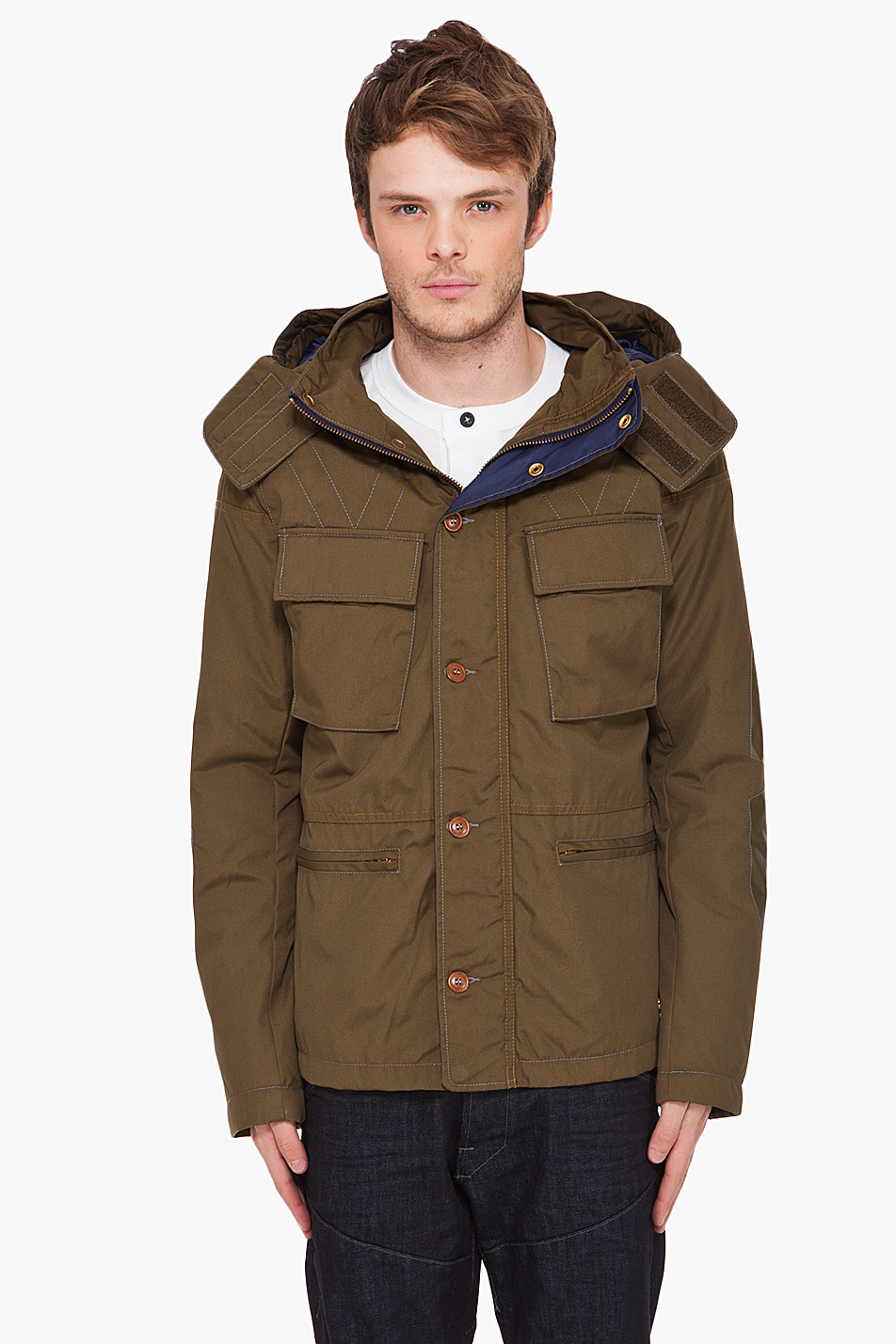 g star raw cl tracking hooded jacket in khaki for men. Black Bedroom Furniture Sets. Home Design Ideas