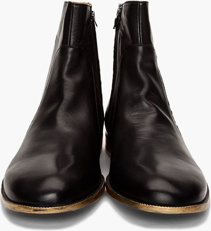 Maison Martin Margiela Leather Black Boots in Black for Men