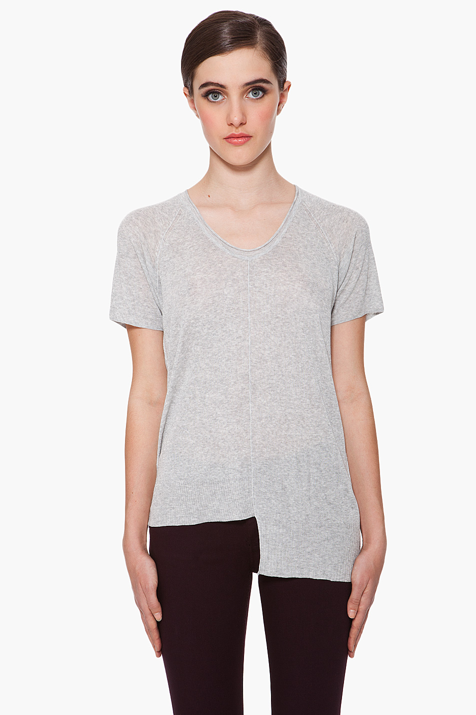 Lyst t by alexander wang rib knit t shirt in gray for Alexander wang t shirts
