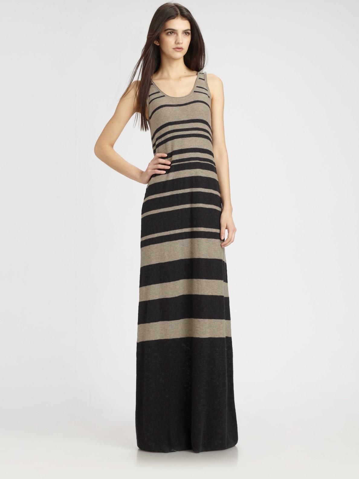 Vince Striped Maxi Tank Dress In Black Lyst