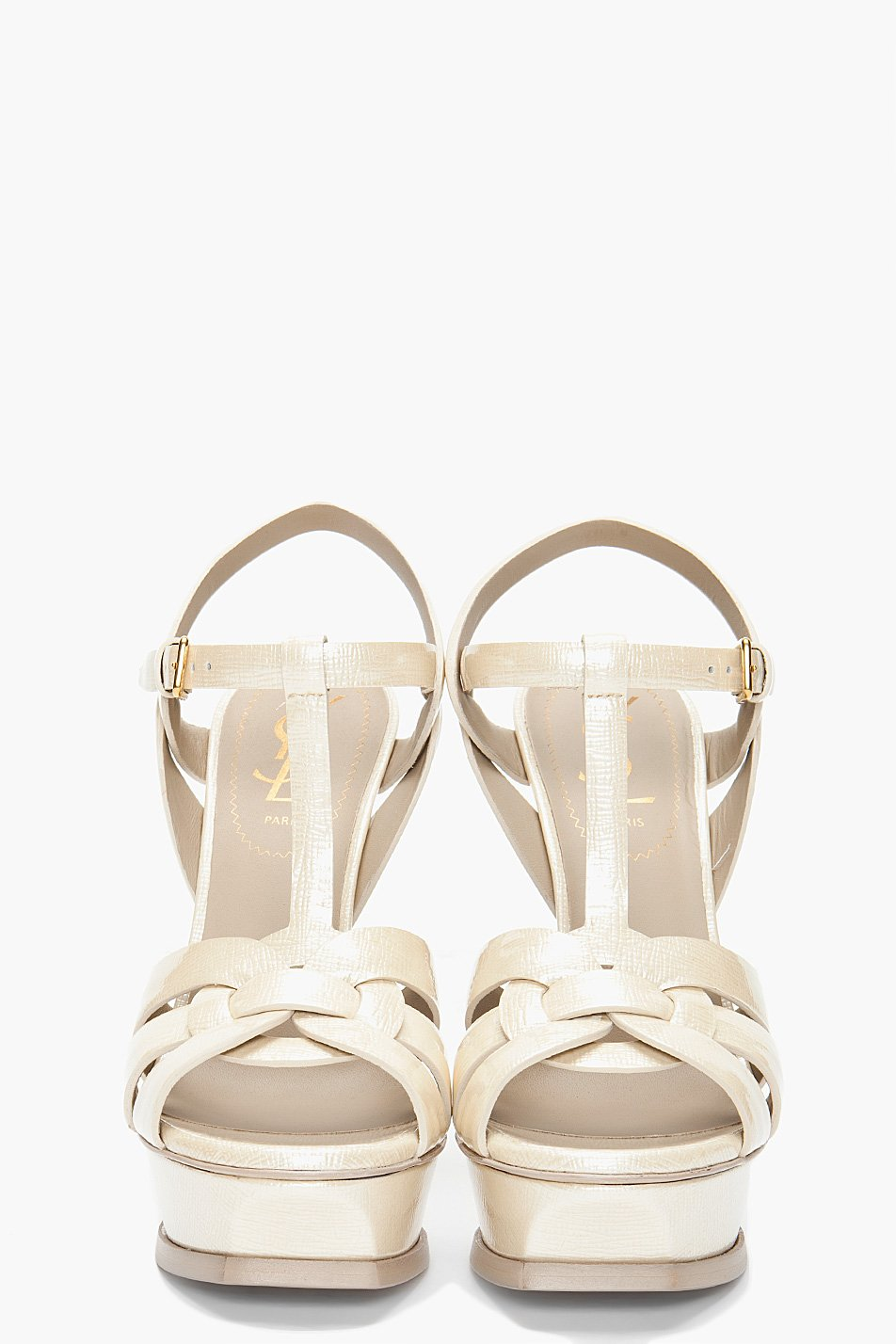 Beau Lyst   Saint Laurent Woven Tribute Heels In White