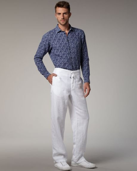 Drawstring Pants For Men Men White Linen Pants