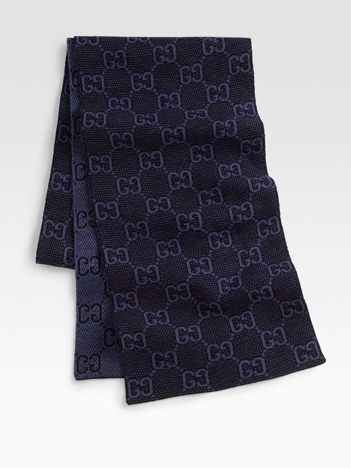 gucci wool scarf in blue for midnight lyst