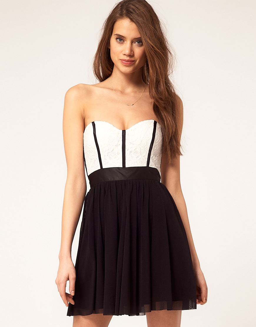 lyst asos skater dress with lace bustier in black