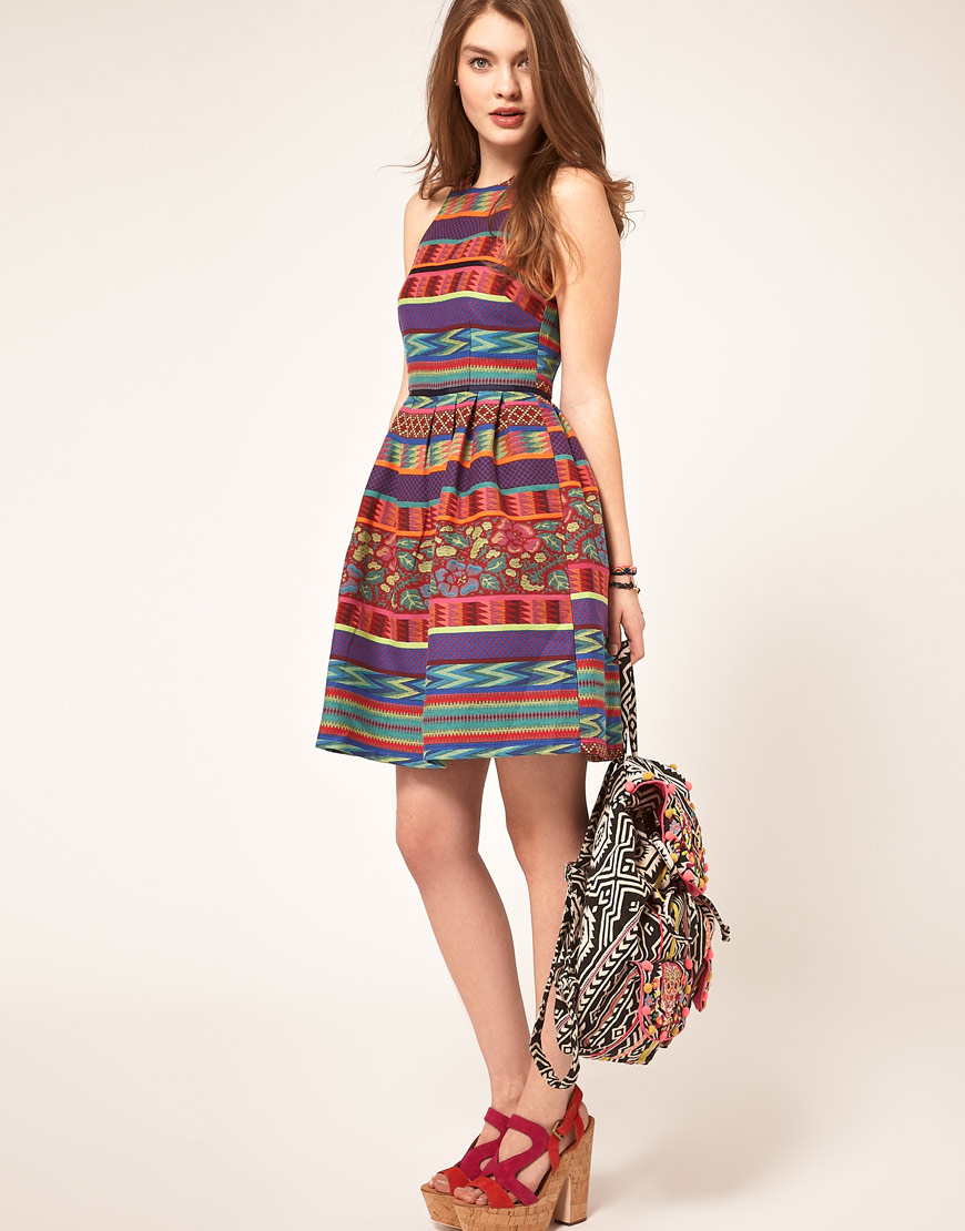 Lyst Asos Collection Asos Skater Dress In Mexican Print