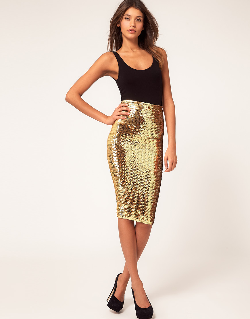 Fashion style Gold Asos sequin skirt pictures for lady