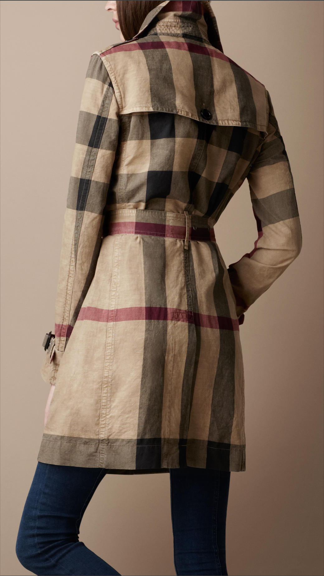 Burberry Brit Check Trench Coat In Brown Lyst