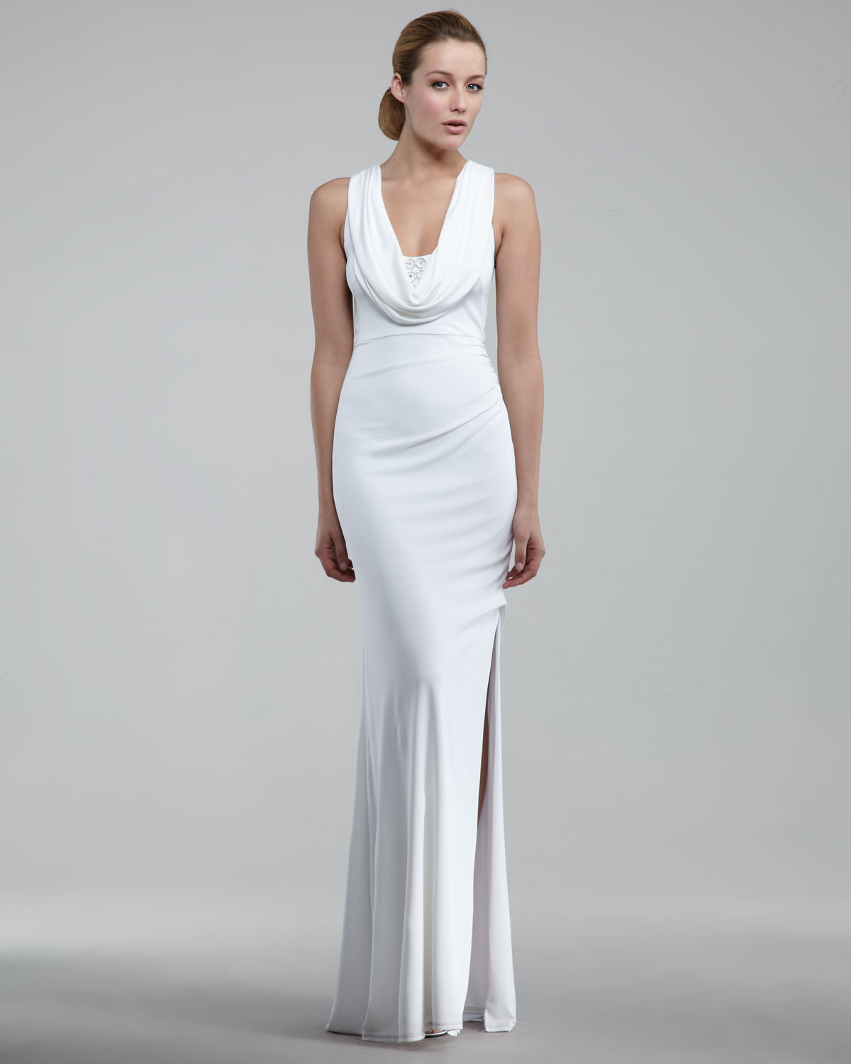 Cowl Neck Bridal Gown: David Meister Cowl-neck Gown In White